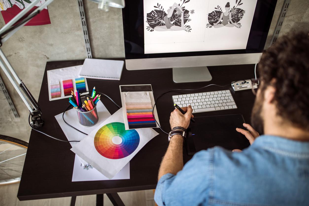 Digital Artist Working At Home